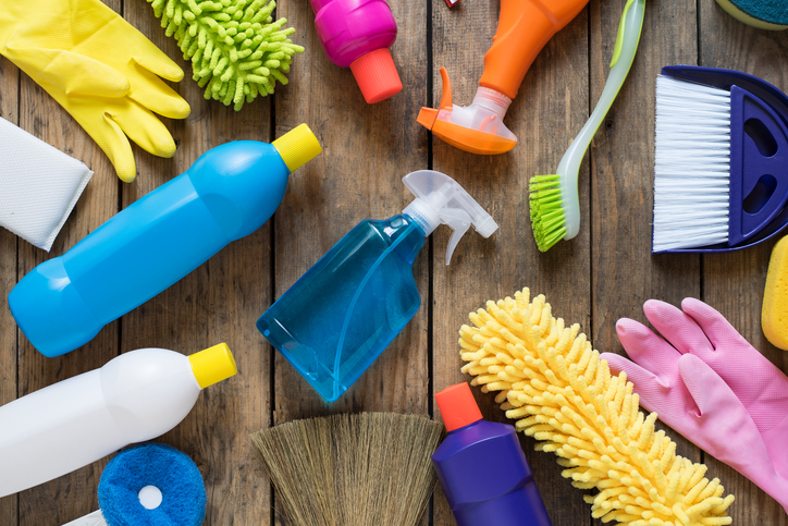 colorful cleaning supplies